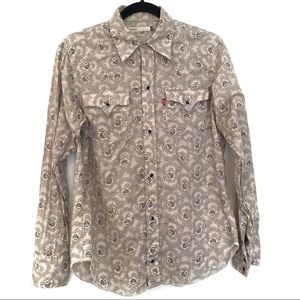 [LEVI'S] Floral Pattern Long Sleeve button Down S